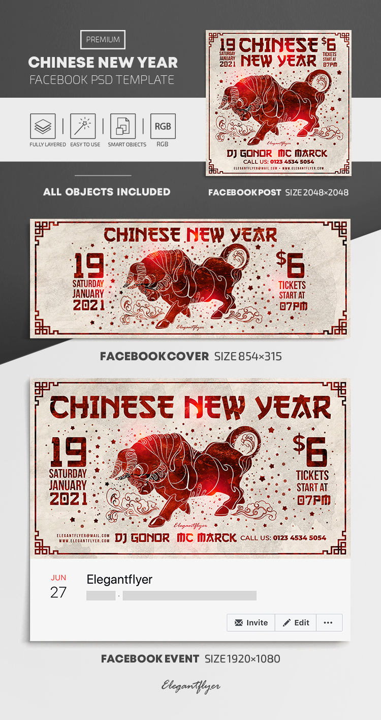 Chinese New Year – Facebook Cover Template in PSD + Post + Event cover