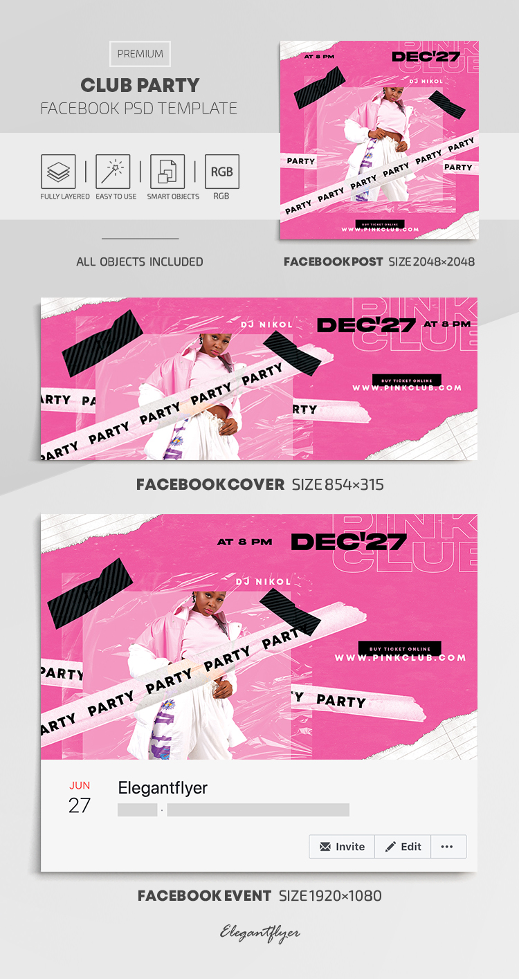 Club Party – Facebook Cover Template in PSD + Post + Event cover