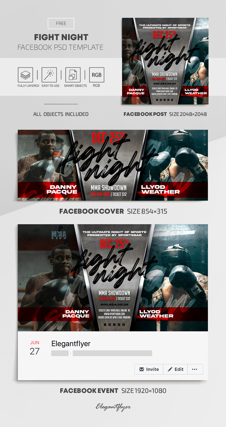 Fight Night – Free Facebook Cover Template in PSD + Post + Event cover