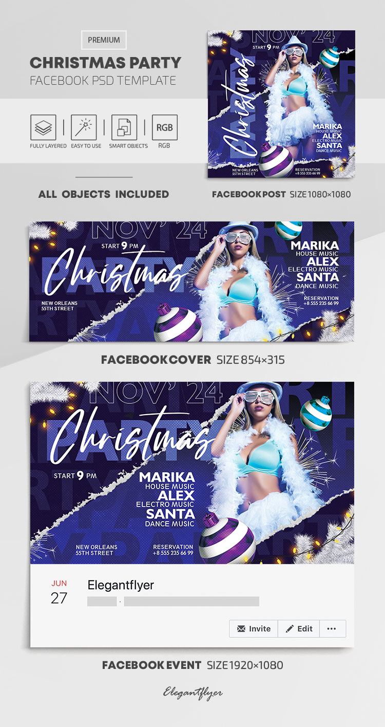 Christmas Party – Facebook Cover Template in PSD + Post + Event cover