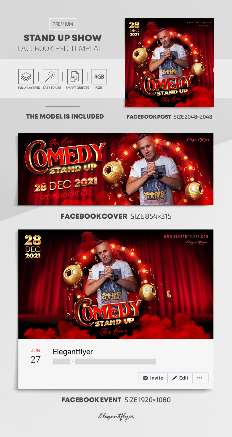 Stand Up Show – Facebook Cover Template in PSD + Post + Event cover