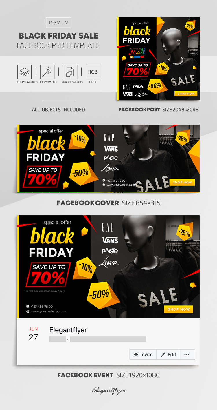 Black Friday Sales – Facebook Cover Template in PSD + Post + Event cover