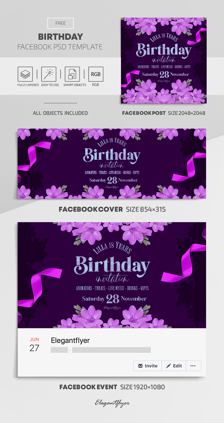 Birthday – Free Facebook Cover Template in PSD + Post + Event cover