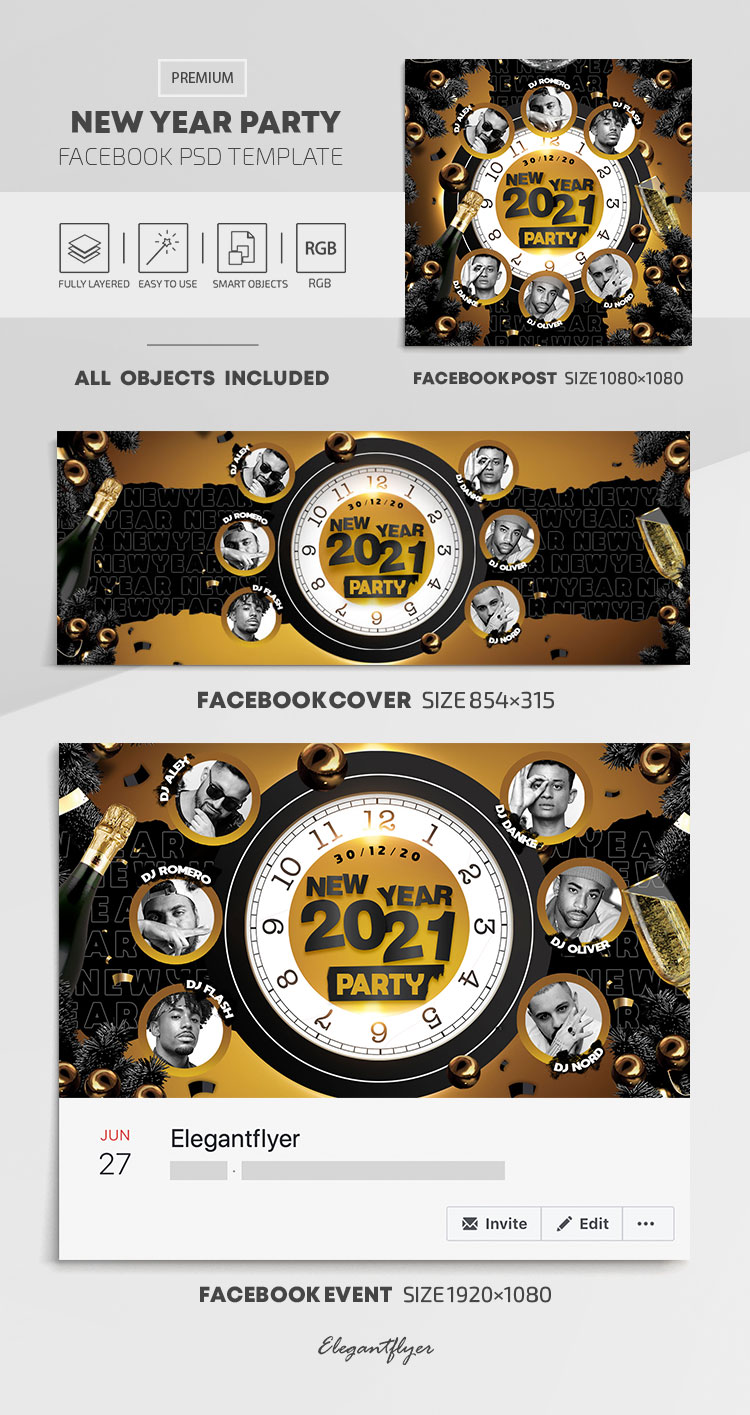 New Year Party – Facebook Cover Template in PSD + Post + Event cover