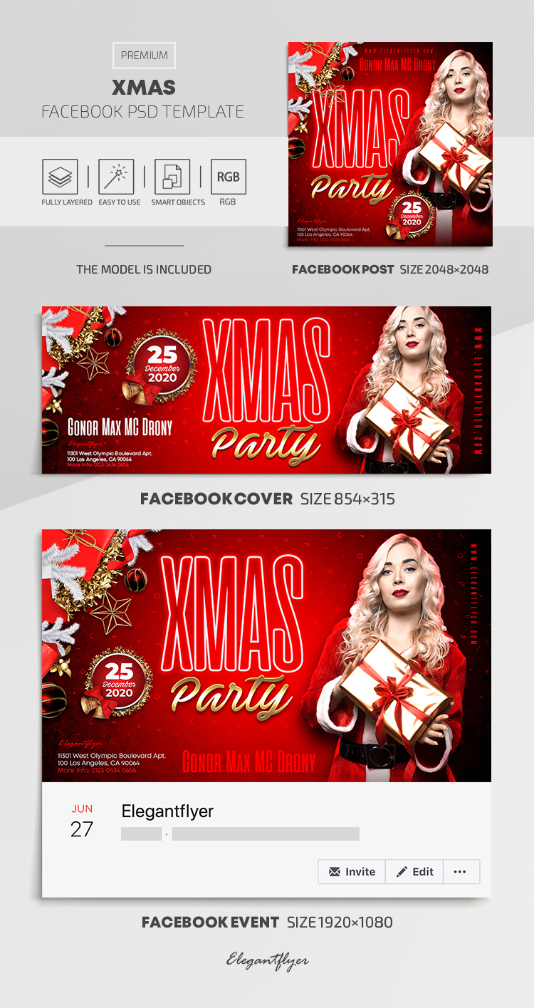 Xmas – Facebook Cover Template in PSD + Post + Event cover