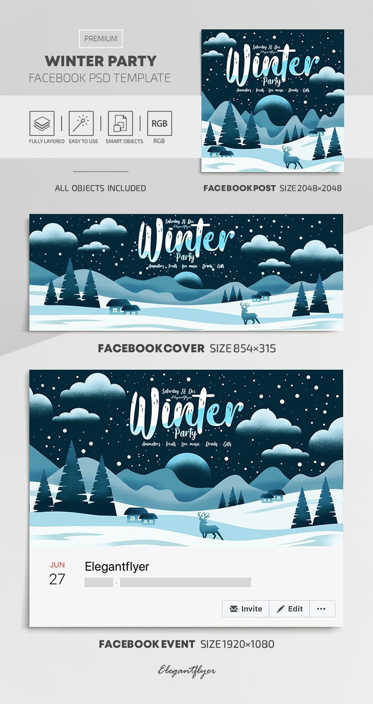 Winter Party – Facebook Cover Template in PSD + Post + Event cover
