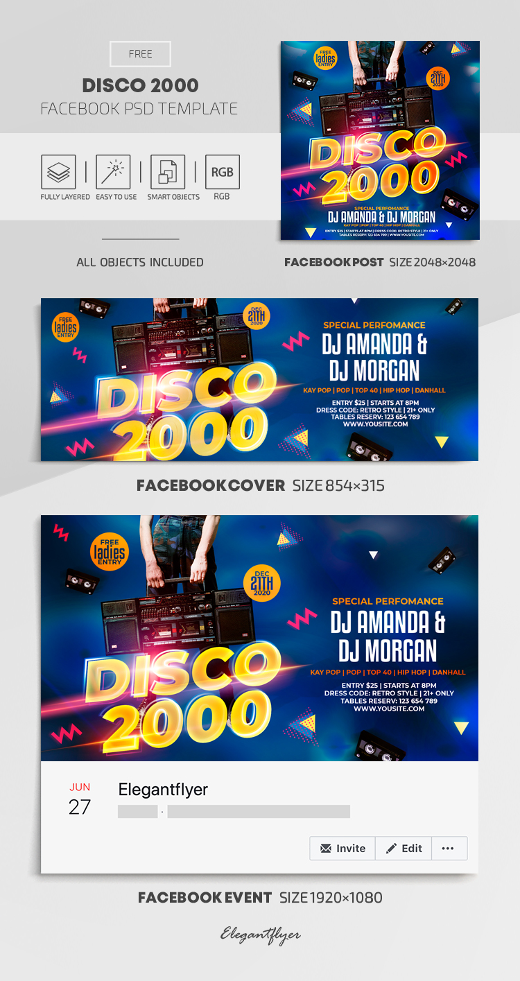 Disco 2000 – Free Facebook Cover Template in PSD + Post + Event cover