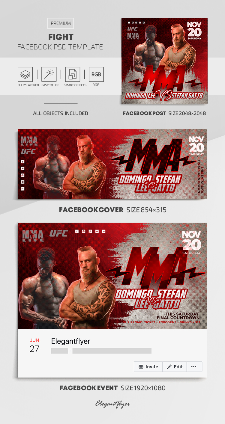 Fight – Facebook Cover Template in PSD + Post + Event cover