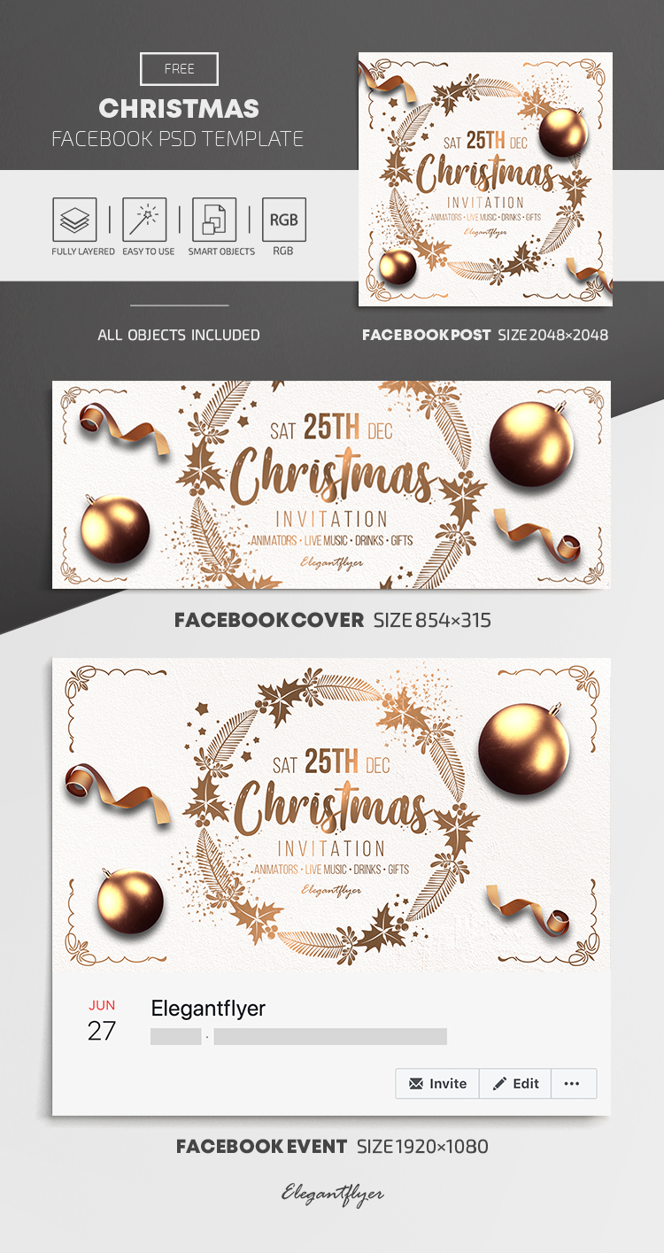 Christmas – Free Facebook Cover Template in PSD + Post + Event cover