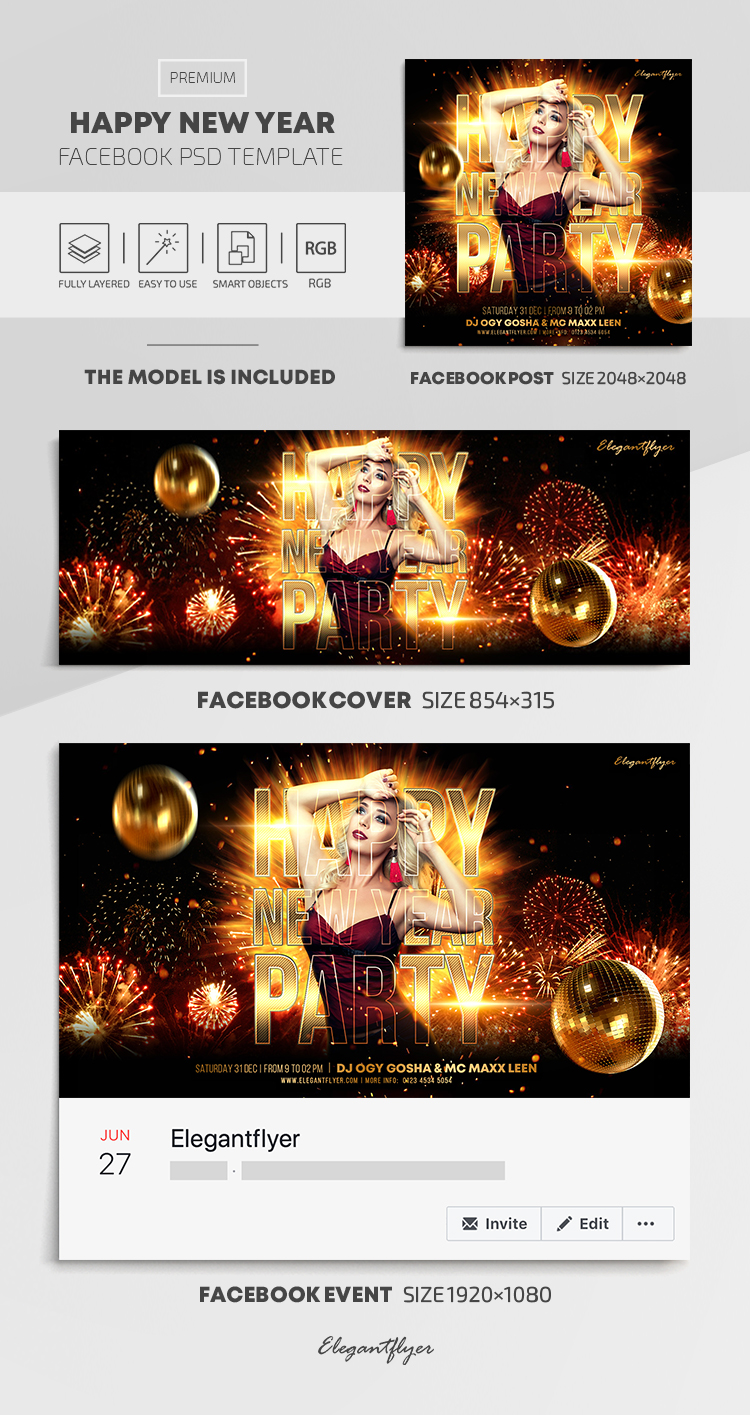 Happy New Year – Facebook Cover Template in PSD + Post + Event cover