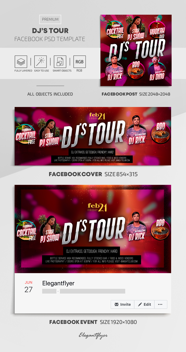 Dj's Tour – Facebook Cover Template in PSD + Post + Event cover