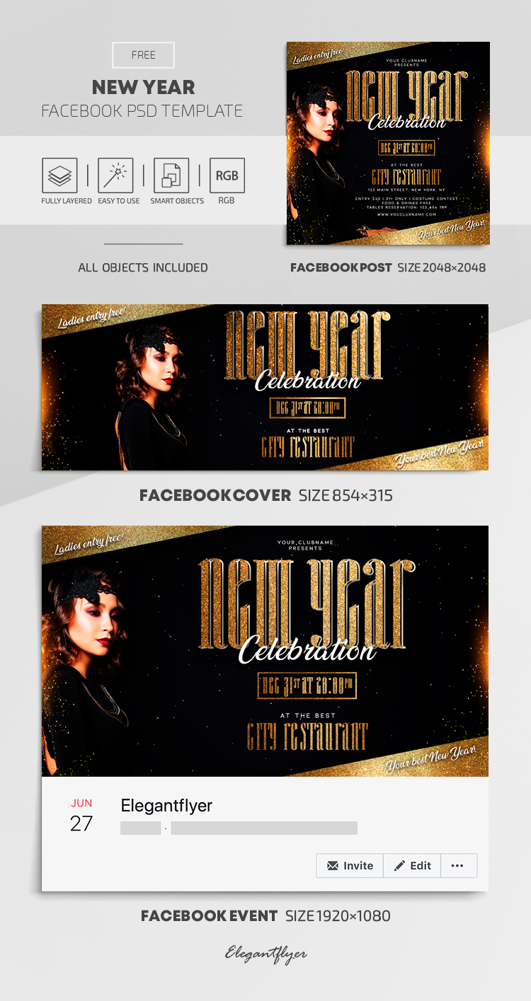 New Year – Free Facebook Cover Template in PSD + Post + Event cover
