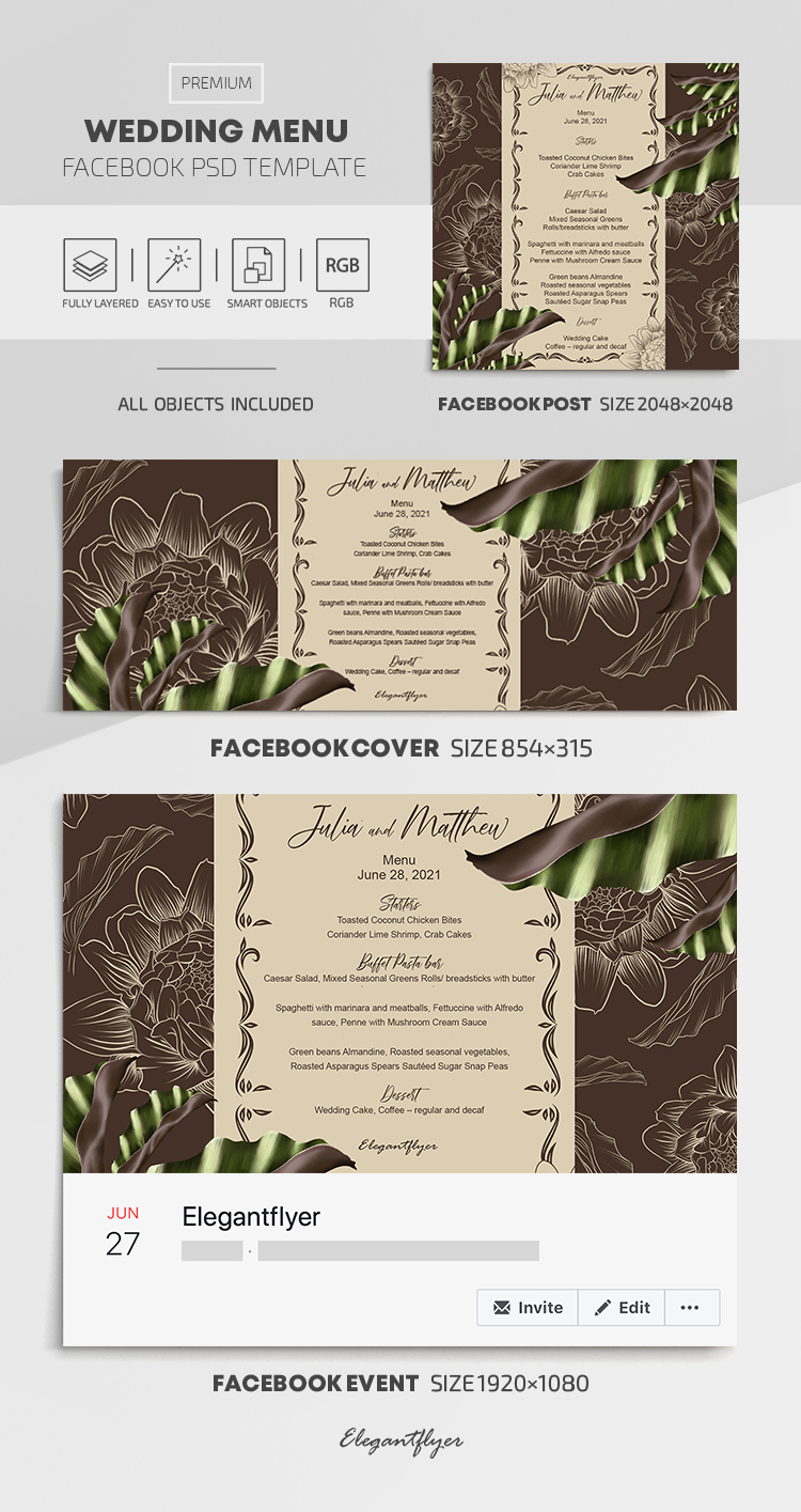 Wedding Menu – Facebook Cover Template in PSD + Post + Event cover