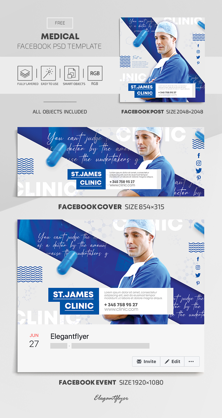 Medical – Free Facebook Cover Template in PSD + Post + Event cover