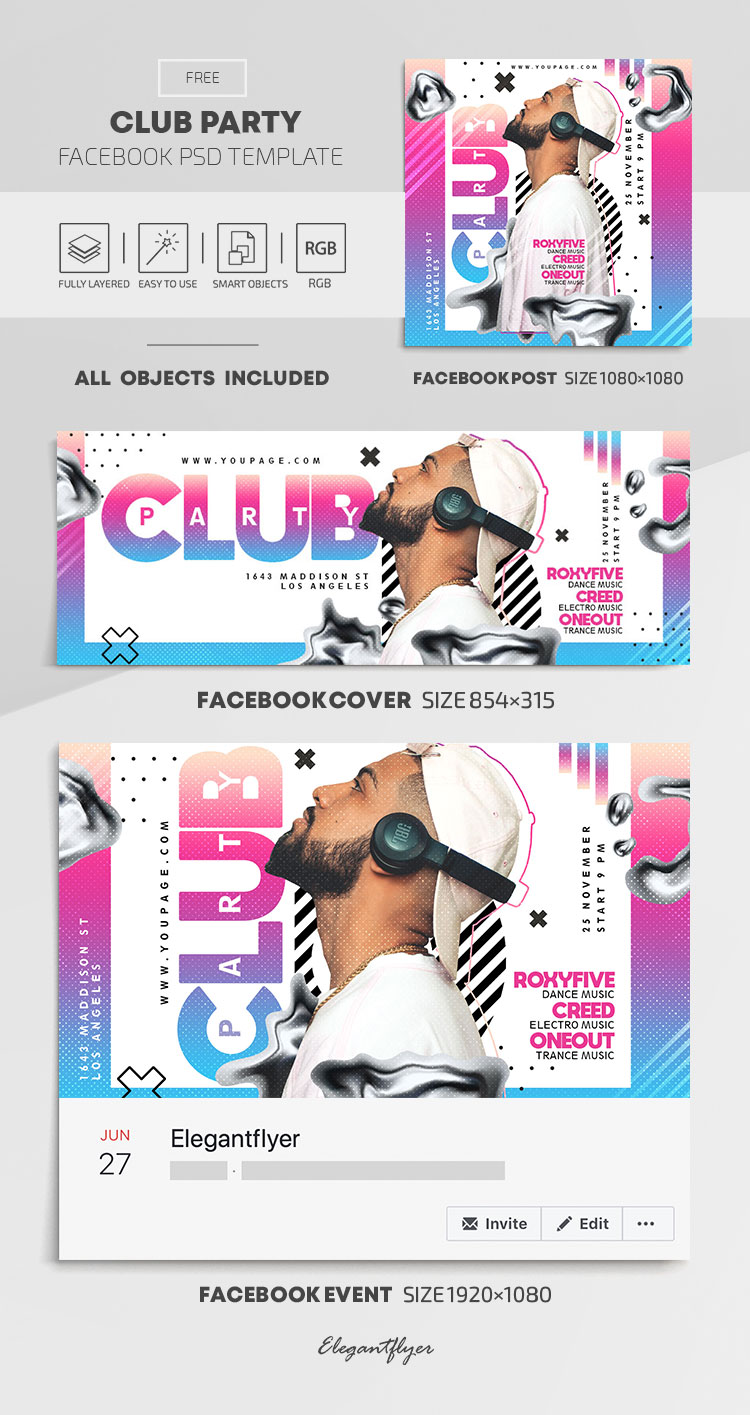Club Party – Free Facebook Cover Template in PSD + Post + Event cover