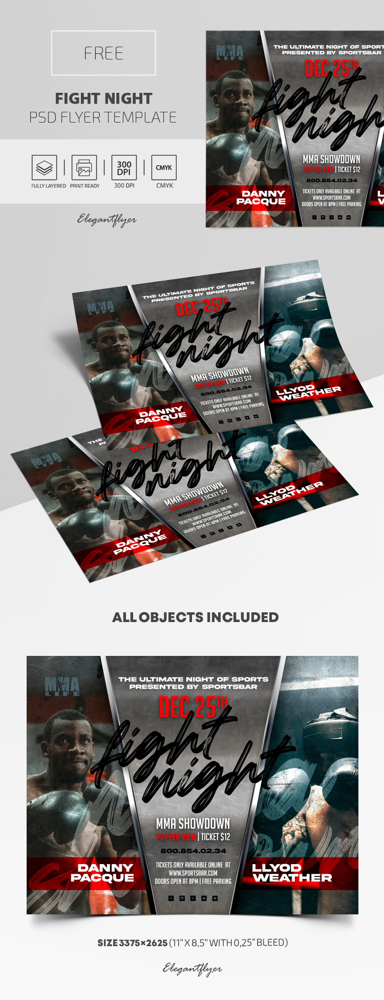 Fight Night – Free Flyer PSD Template