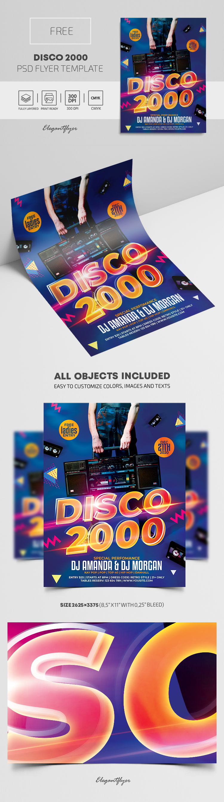 Disco 2000 – Free Flyer PSD Template