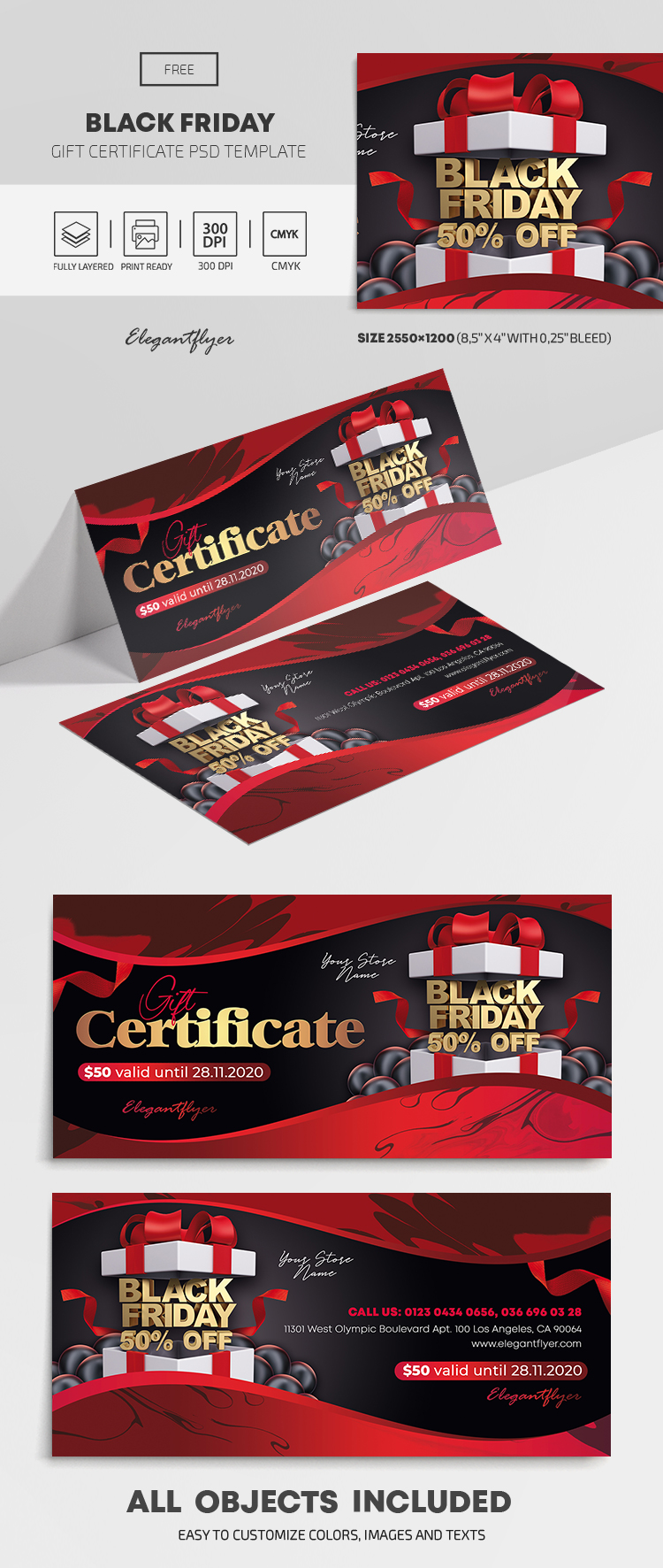 Black Friday – Free Gift Certificate Template in PSD