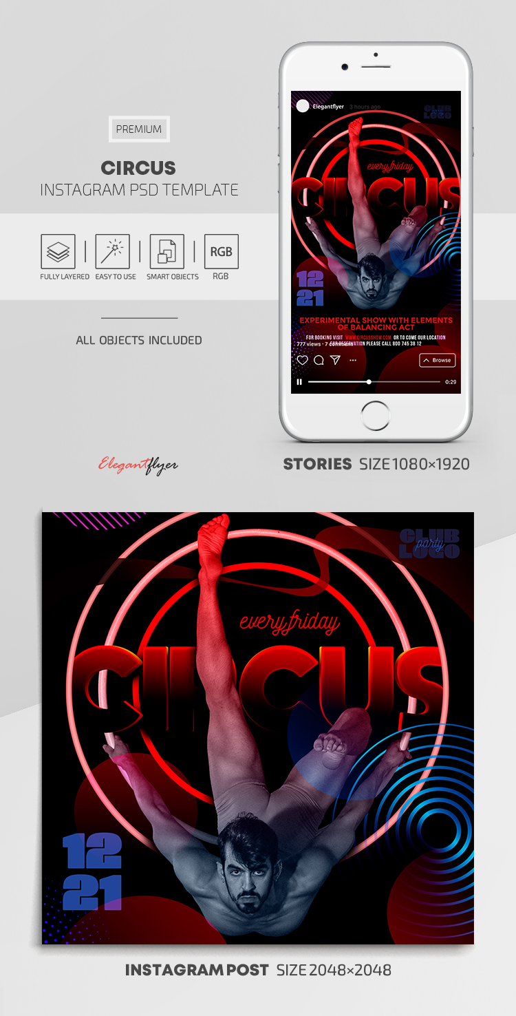 Circus – Instagram Stories Template in PSD + Post Templates