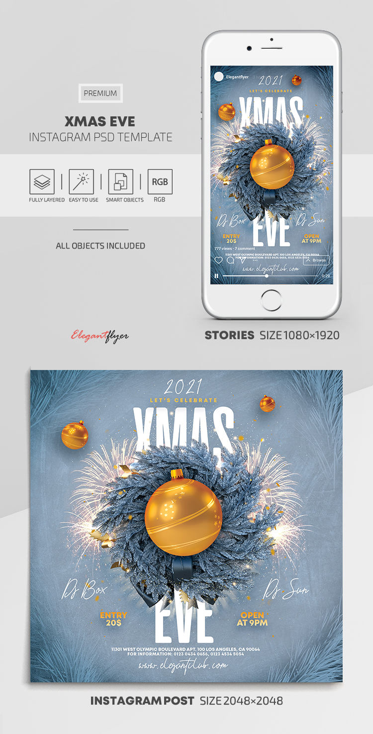 Xmas Eve – Instagram Stories Template in PSD + Post Templates