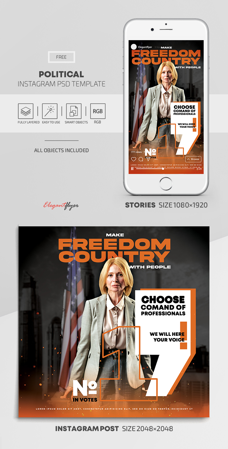 Political – Free Instagram Stories Template in PSD + Post Template