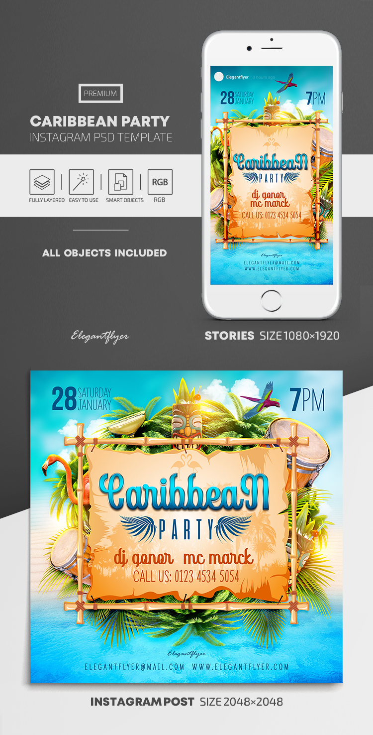Caribbean Party – Instagram Stories Template in PSD + Post Templates