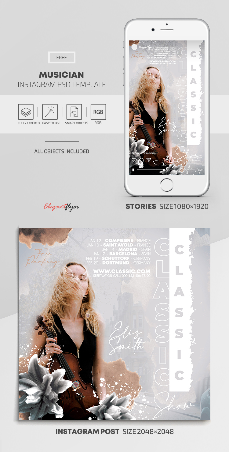 Musician – Free Instagram Stories Template in PSD + Post Template