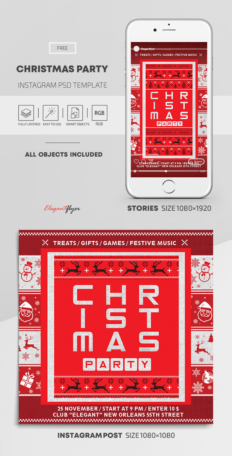 Christmas Party – Free Instagram Stories Template in PSD + Post Template