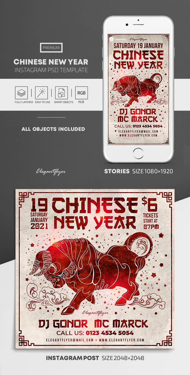 Chinese New Year – Instagram Stories Template in PSD + Post Templates