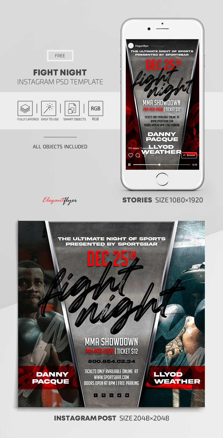 Fight Night – Free Instagram Stories Template in PSD + Post Template