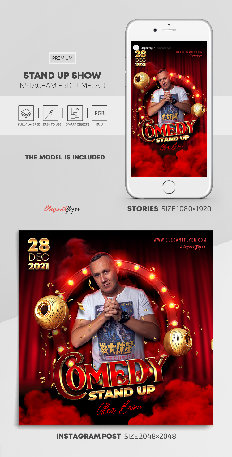 Stand Up Show – Instagram Stories Template in PSD + Post Templates