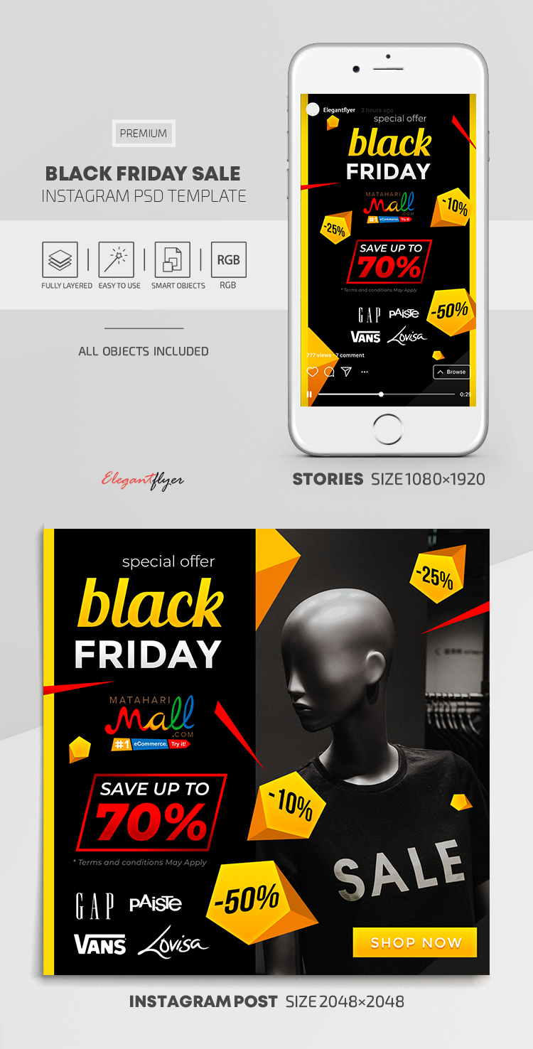 Black Friday Sales – Instagram Stories Template in PSD + Post Templates