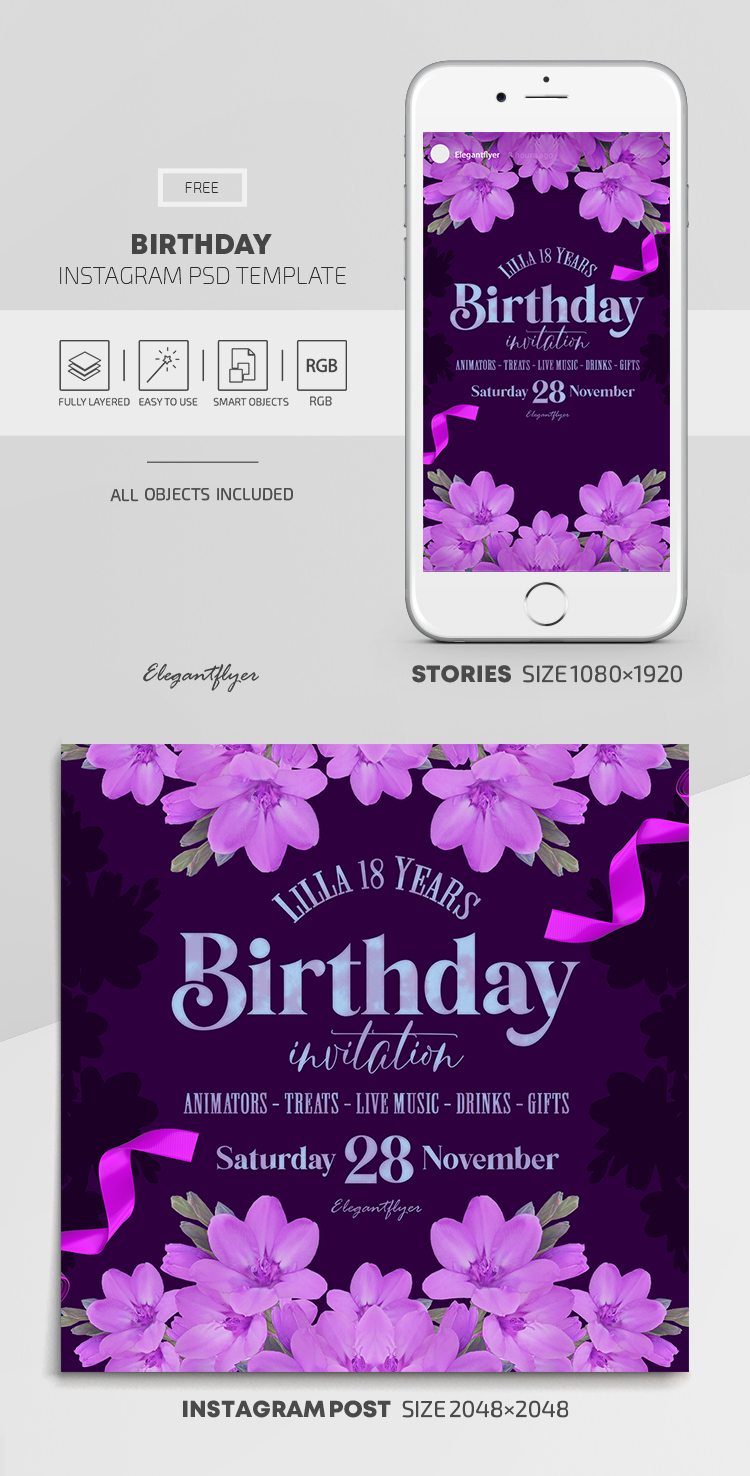 Birthday – Free Instagram Stories Template in PSD + Post Template