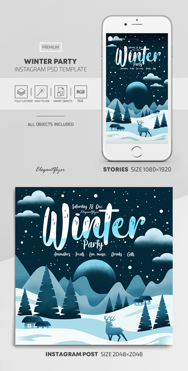 Winter Party – Instagram Stories Template in PSD + Post Templates