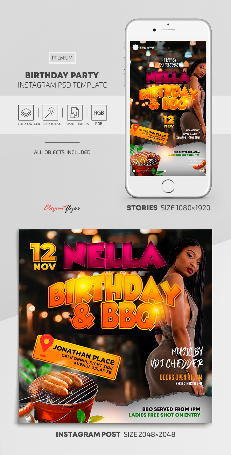Birthday Party – Instagram Stories Template in PSD + Post Templates