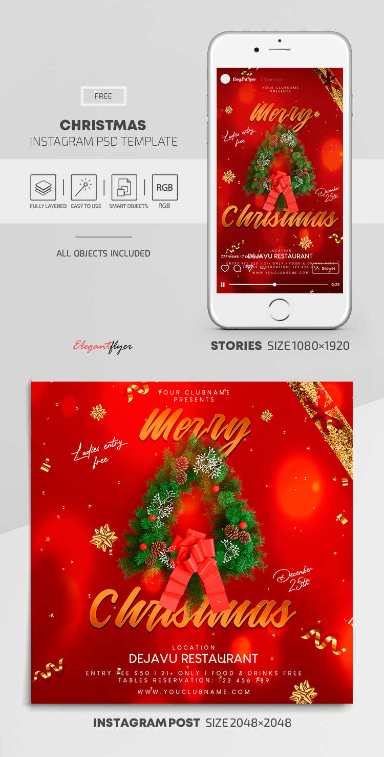 Christmas – Free Instagram Stories Template in PSD + Post Template