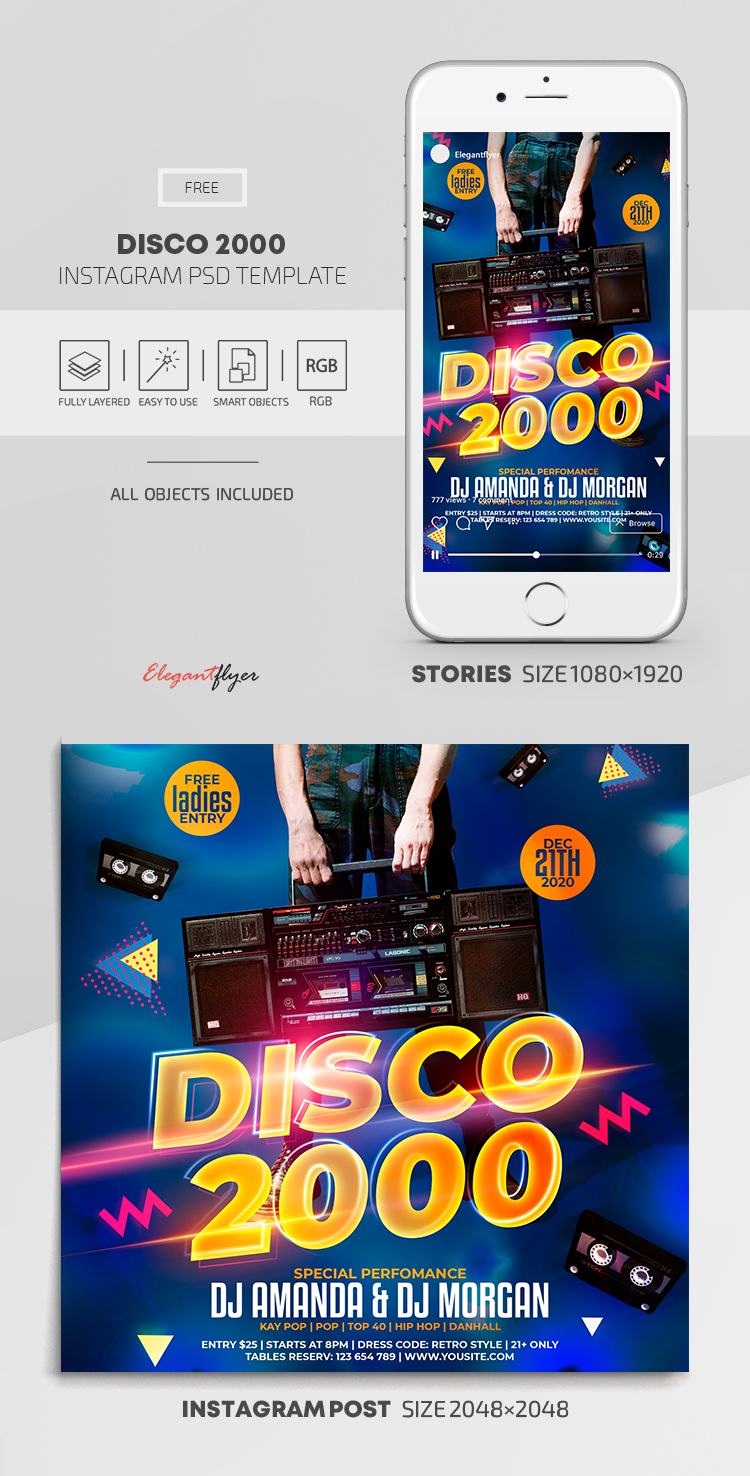 Disco 2000 – Free Instagram Stories Template in PSD + Post Template