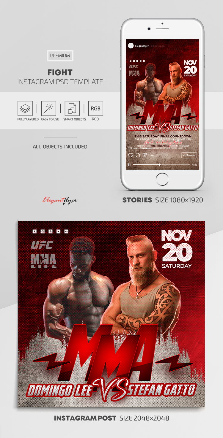 Fight – Instagram Stories Template in PSD + Post Templates