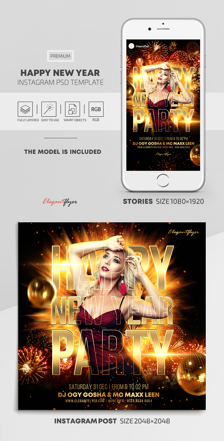 Happy New Year – Instagram Stories Template in PSD + Post Templates