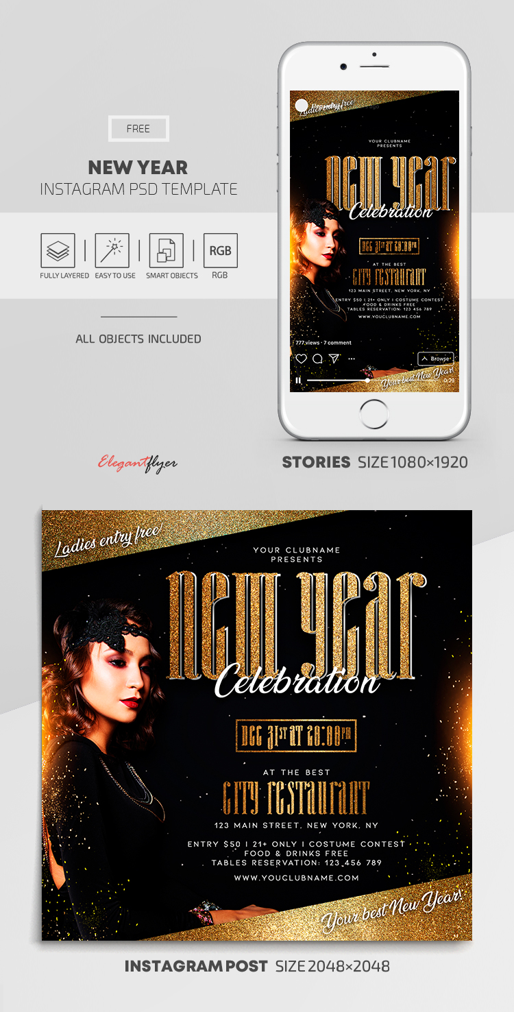 New Year – Free Instagram Stories Template in PSD + Post Template