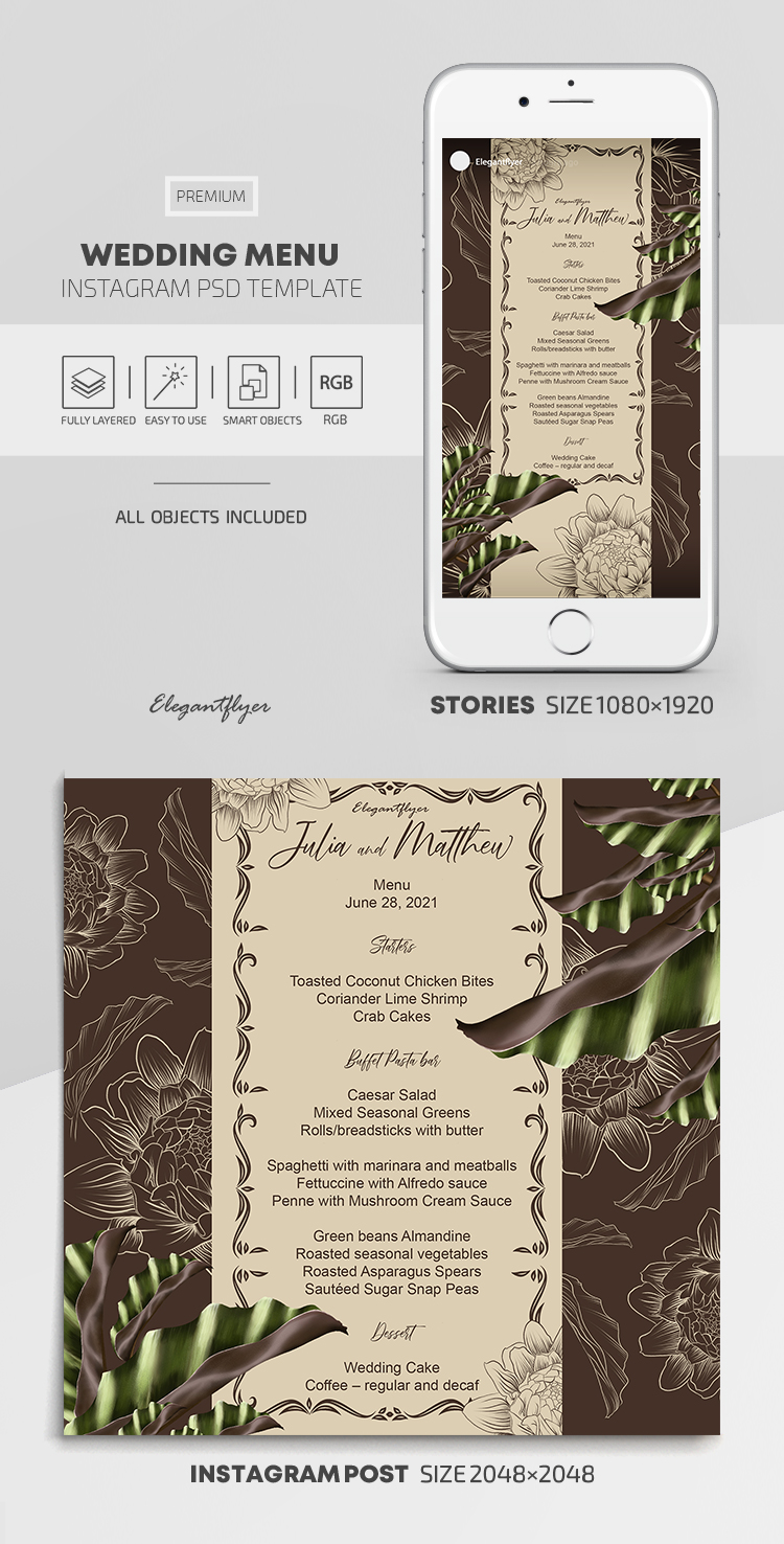 Wedding Menu – Instagram Stories Template in PSD + Post Templates