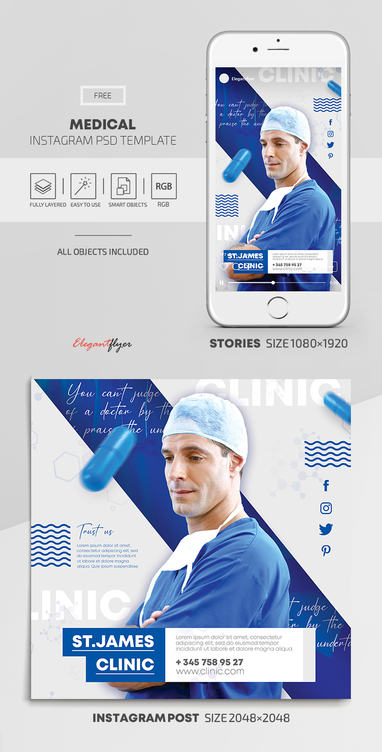 Medical – Free Instagram Stories Template in PSD + Post Template