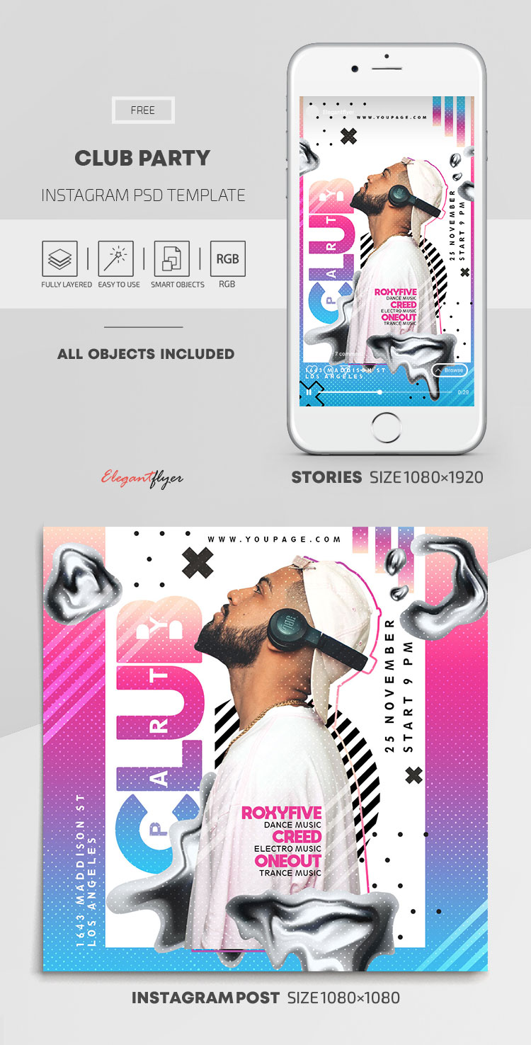 Club Party – Free Instagram Stories Template in PSD + Post Template