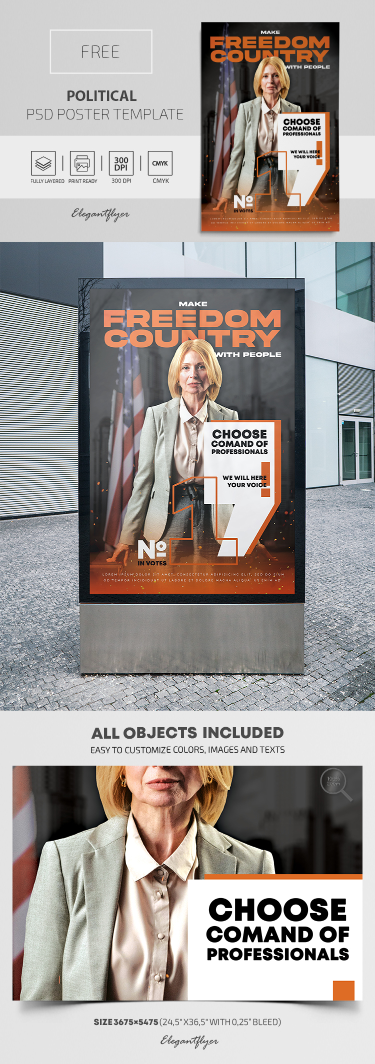 Political – Free PSD Poster Template