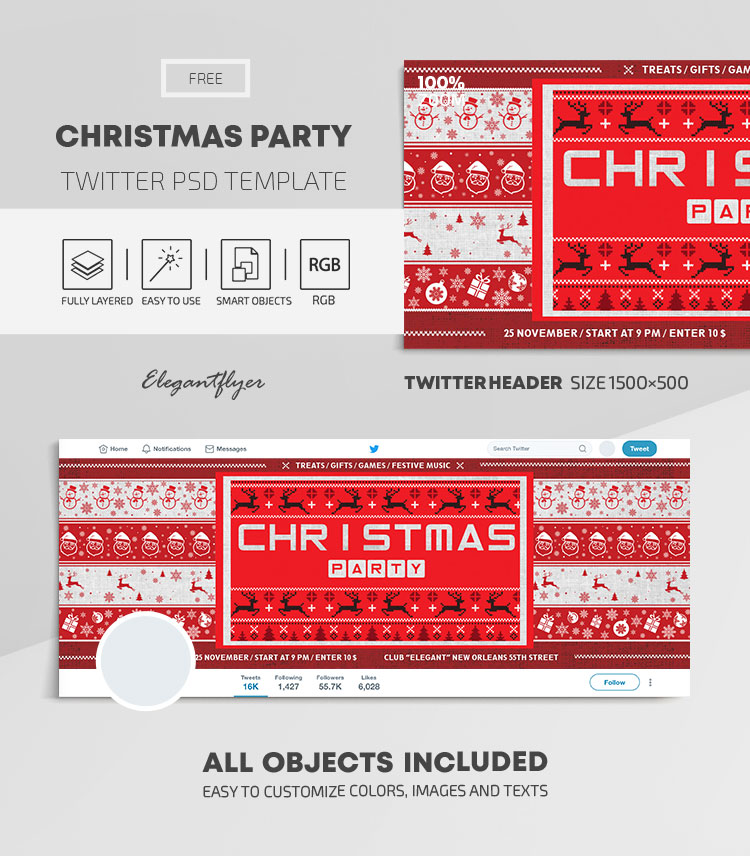 Christmas Party – Free Twitter Header PSD Template