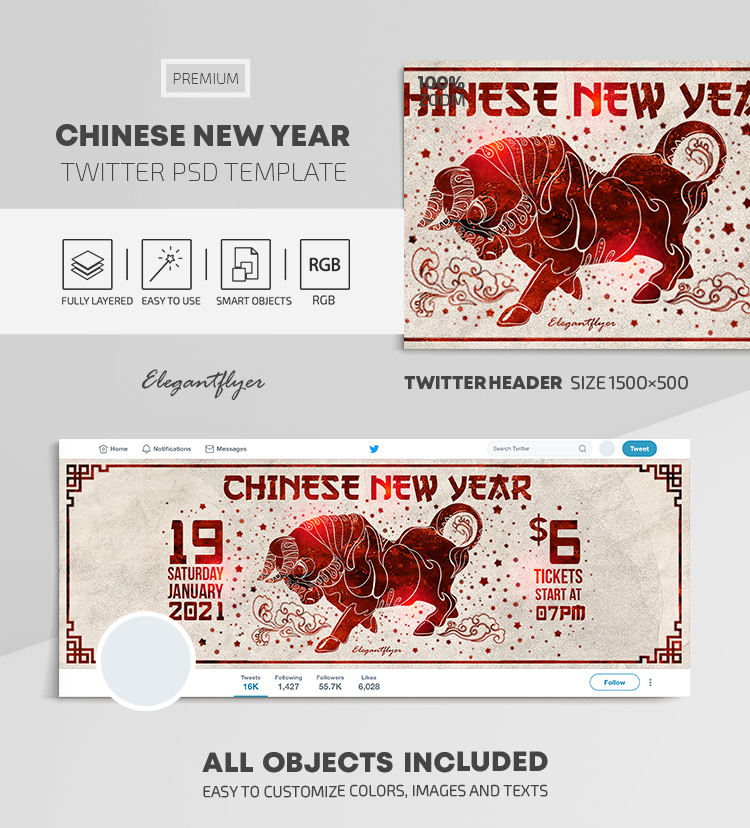 Chinese New Year – Twitter Header PSD Template
