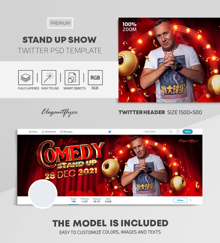 Stand Up Show – Twitter Header PSD Template