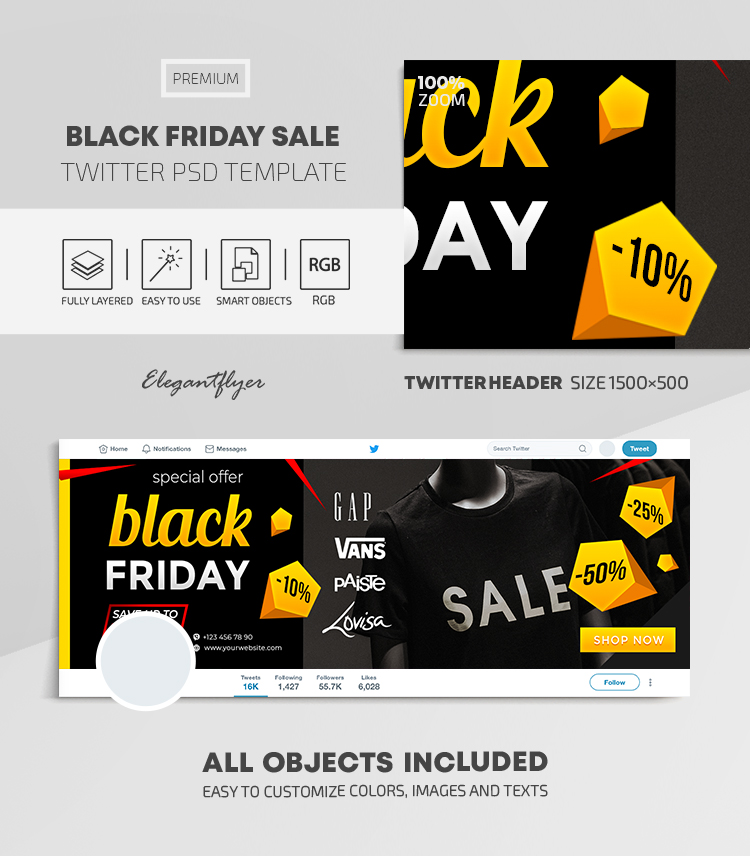 Black Friday Sales – Twitter Header PSD Template