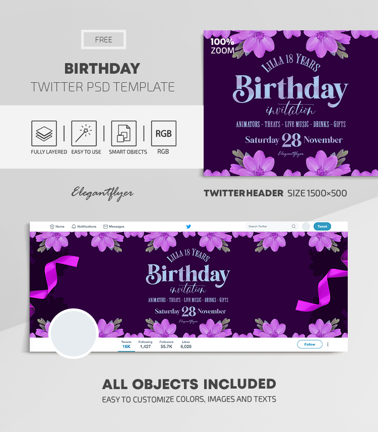 Birthday – Free Twitter Header PSD Template