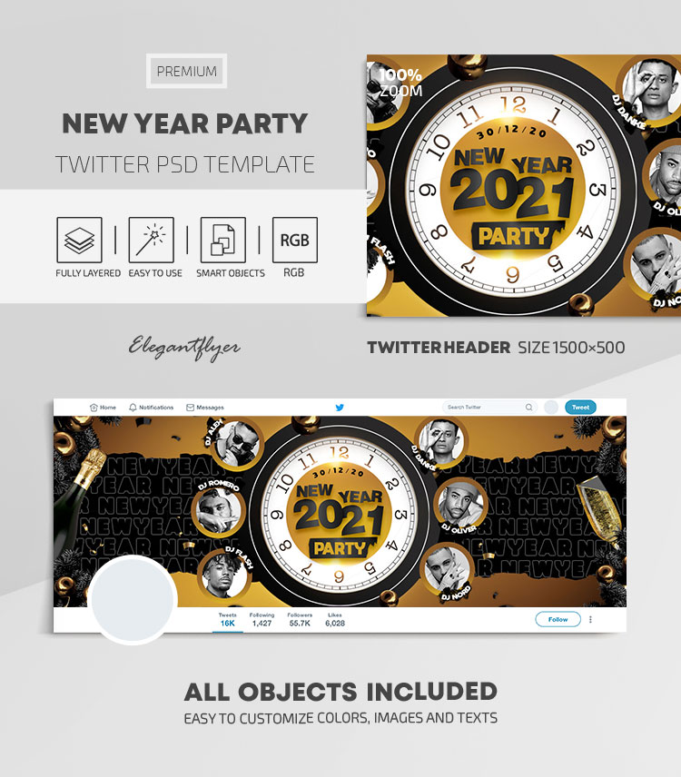 New Year Party – Twitter Header PSD Template
